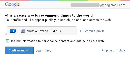 Google +1 Bestatigung