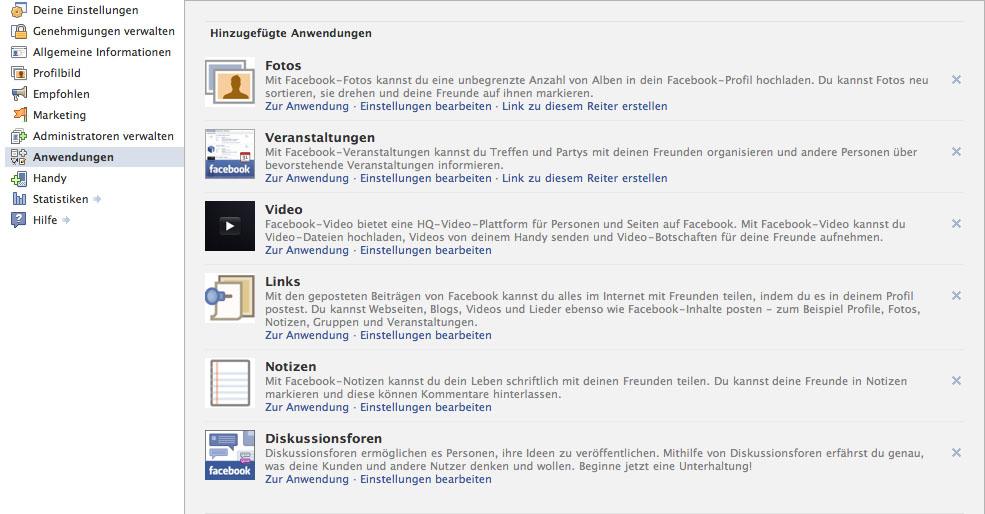 Facebook Seiten Einstellungen