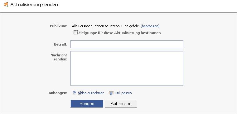 facebook aktualisierung senden