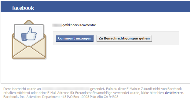 Faceboook Benachrichtigung