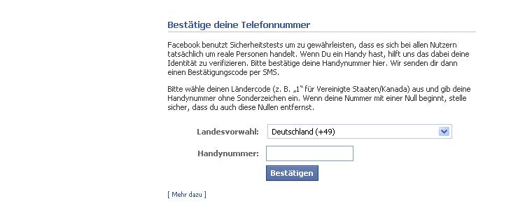 Facebook Bestaetigung SMS