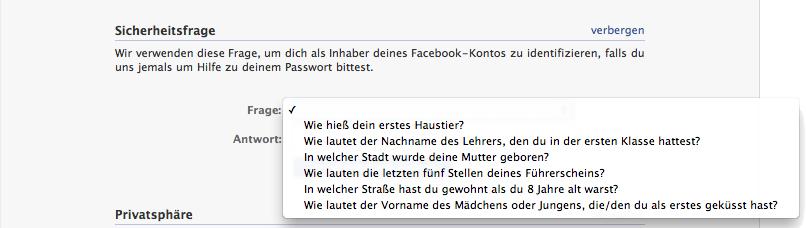 Facebook Sicherheitsfrage