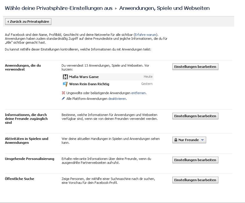 Facebook Anwendungen und Einstellungen